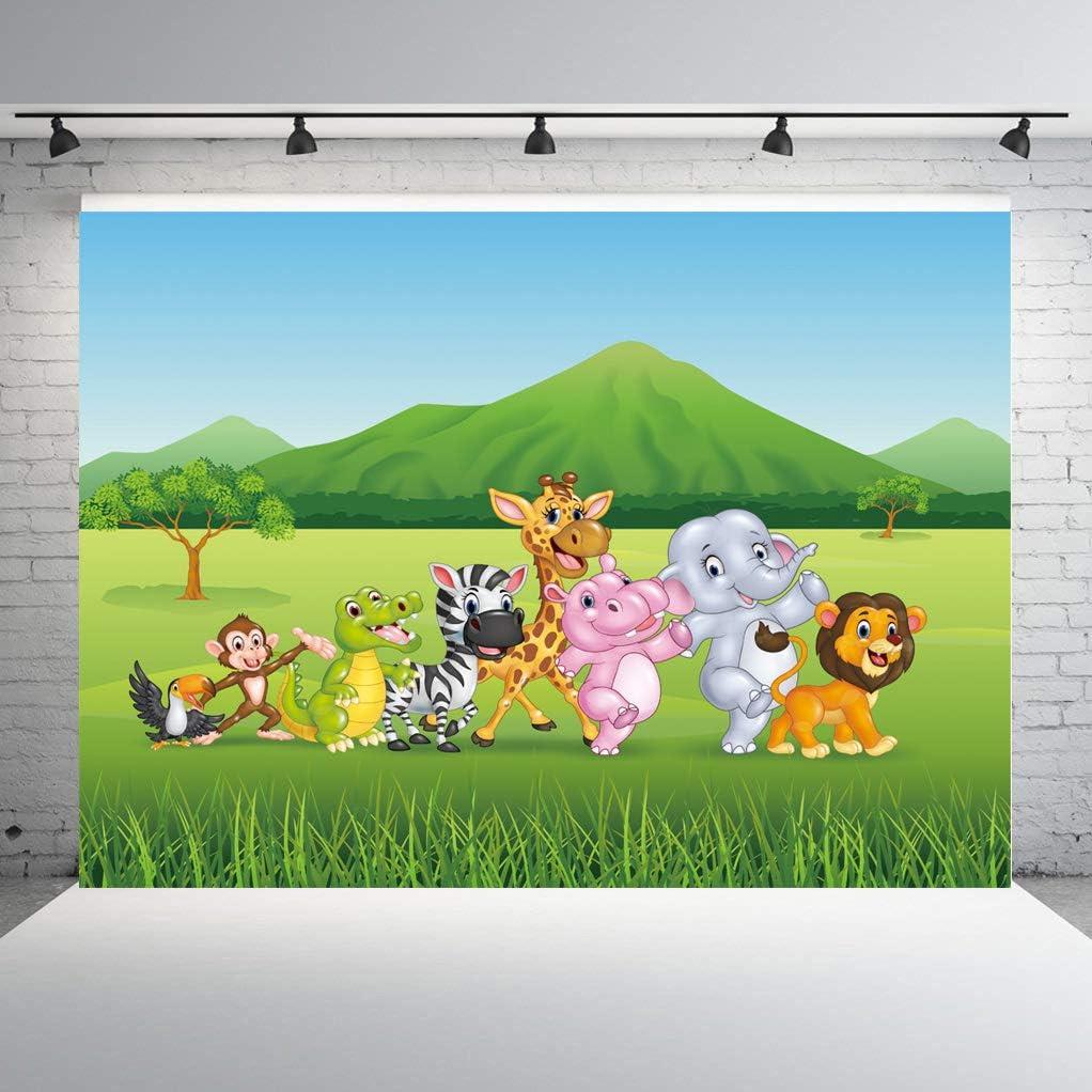 Apotoe 270X180CM 9X6FT Cartoon Jungle Safari Themed Animals Party Seamless Photography Backdrop Photo Background Studio Props APO048B
