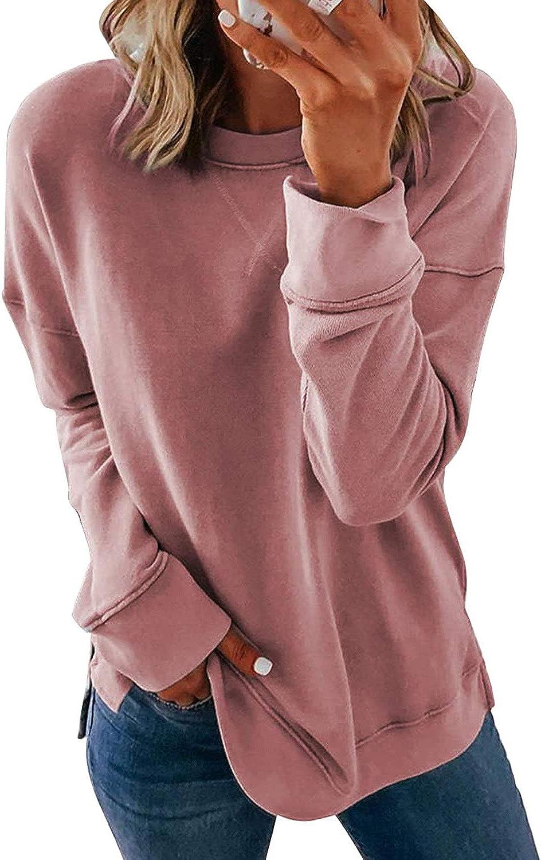 Shawhuwa Womens Casual Tie Dye Sweatshirt Long Sleeve Crewneck Pullover Tops Loose Soft T-Shirts