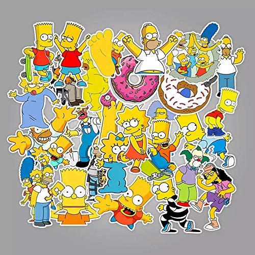 100 piezas divertidas pegatinas de graffiti de dibujos animados de Anime Simpsons para coche Moto y maleta pegatinas geniales para ordenador portátil monopatín pegatinas para niños