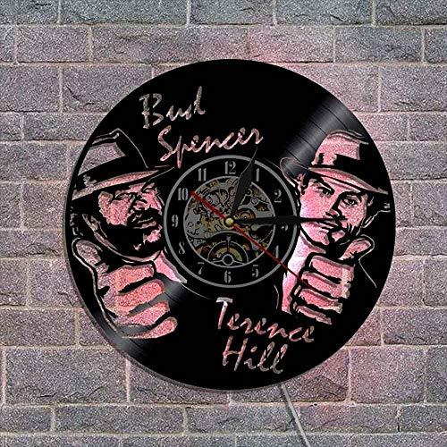 BFMBCHDJ Reloj de Vinilo Reloj de Pared de Vinilo Doble Masculino Reloj de Pared de la Sala de Estar Dormitorio Reloj de Pared A Sin LED 12 Pulgadas
