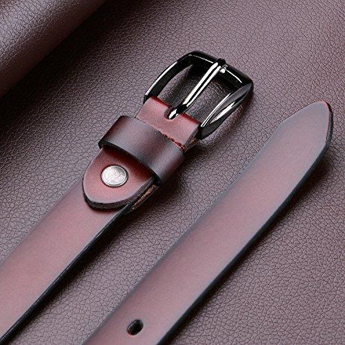 レディースベルト 本革 牛革 ベルト 耐久性 柔らかい カジュアル レザーベルトJA049 コーヒー色