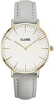 La Bohème Gold White Grey CL18414 Women's Watch 38mm Leather Strap Minimalistic Design Casual Dress Japanese Quartz Elegant Timepiece