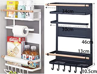 حامل منشفة ورقية مغناطيسية للمطبخ مع رف التخزين، منظم للثلاجة بهارات مغناطيسية لرفوف المطبخ ومراكز المطبخ والحمام أسود