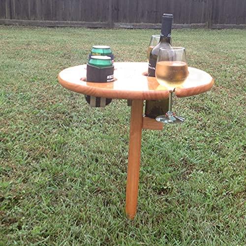 TinaDeer Weintisch Holz Runde Picknicktisch klappbarer, Weinliebhaber Geschenk, Campingtisch Outdoor Garten Tisch, Camper, Wanderer, Angler sowie Outdoor begeisterte (Brown)