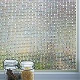 Duofire vinilo para ventana de privacidad vinilo de ventana mosaico 3d decorativa del película de ventana autoadhesiva sin pegamento película para vidrio anti-uv (60cm x 200cm, dl004)