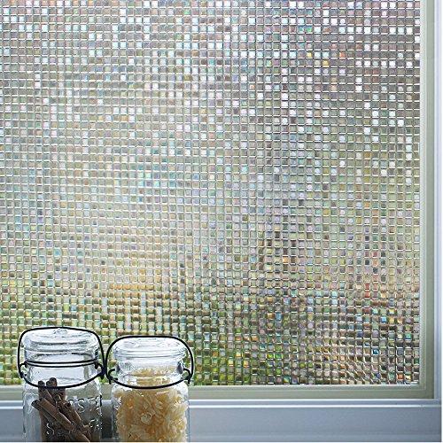 DUOFIRE 3D Fensterfolie Dekorfolie Sichtschutzfolie Ohne Kleber Selbstklebend Glas Fenster Folie Anti-UV (90cm X 200cm, DL004)