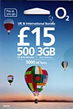 UK PrePaid O2 SIM Card to use in England, Scotland, Wales, Northern Ireland, Holiday SIM/Roaming SIM inc Data, Minutes to Call UK, US & Other International Numbers (3GB Data - 500 Minutes)