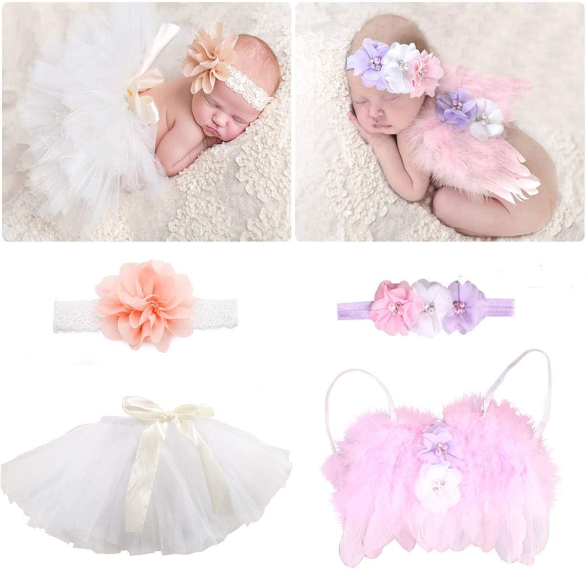 4 PCS Newborn 2021 model Photography 2021 Props Outfits-BabyTutu Skirt Bow Cute