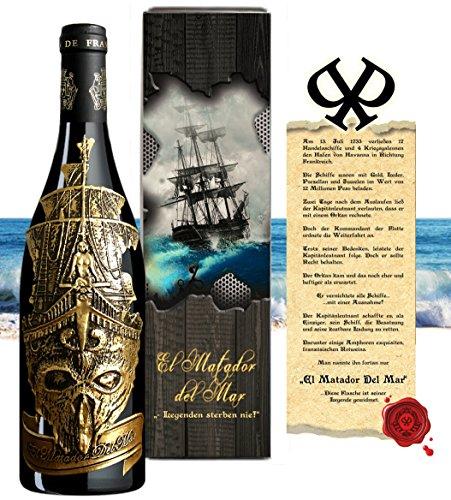 Matador Del Mar Wein-Geschenk für Abendteurer Rotwein-Set Bordeaux Syrah mit Vintage-Geschenkbox (Zertifikat) für Weinkenner und Luxus-Liebhaber Weihnachten Kapitän