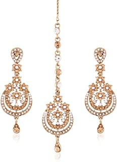 I Jewels Gold Plated Earring Set with Maang Tikka for Women TE120LW