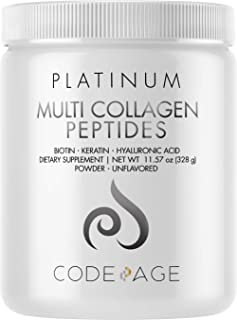 Multi Collagen Protein Powder with Biotin, Vitamin C, Keratin, Hyaluronic Acid, Zinc - Grass Fed Hydrolyzed Collagen Boost...
