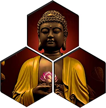 SAF Set of 3 Hexagon Buddha MDF Board UV Textured Painting 17 Inch X 17 Inch SANFHXS30378