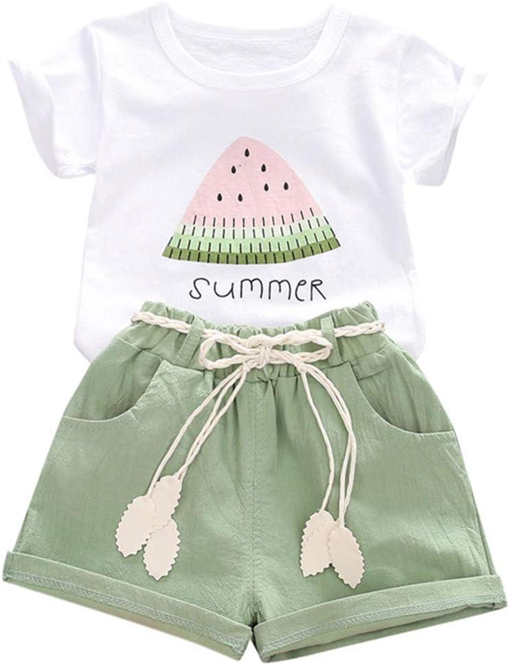 Briskorry Conjunto de ropa para bebé niña, 2 piezas, camiseta de manga corta y pantalones cortos, ropa para tiempo libre, verano, para niños de 1 a 4 años