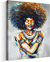 Artinme Framed African American Black Art Dancing Black Women in Dress Wall Art Painting on Canvas Print Wall Picture for Home Accent Living Room Wall Decor (24 x 32 inch, G)