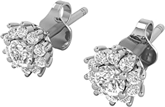 14K White Gold 1/5-1/2 Carat (H-I Color, SI2-I1 Clarity) Natural Diamond Star Halo Stud Earrings for Women