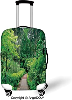 AngelDOU Travel Accessories Elastic Luggage Dust Cover Forest Green Plants Trees in Singapore Asia Botanic Gardens Walkway Travel Destination Arboretum Green Apply to 18''-28'' Suitcase.