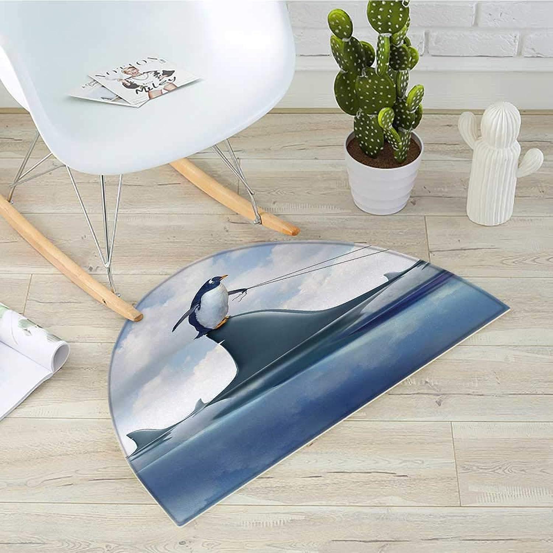 Shark Half Round Door mats Fear Management Leadership Concept with A Penguin Holding Shark Humor Design Bathroom Mat H 39.3  xD 59  bluee Grey Dust