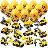EZIGO 12 Pack Pre Filled Easter Eggs with Construction Vehicles Building Blocks Toy, Easter Basket Stuffers Fillers Bulk Easter Egg Hunts Party Favors for Kids Classroom Prize Supplies Easter Gift