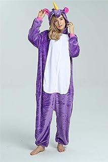 Adults Animal Pajamas Set Cartoon Women Men Winter Unisex Flannel Stitch Pajamas Sleepwear Makfacp (Color : Purple sky hor...