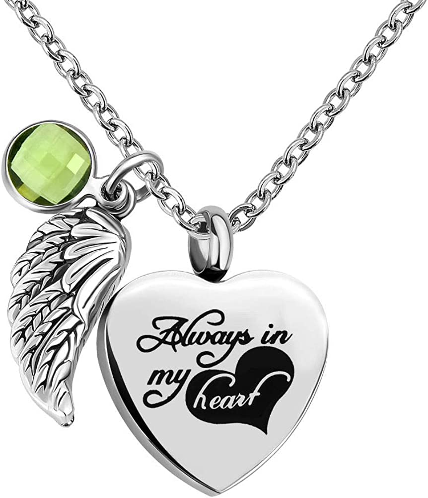 Infinite Memories - Always in My Heart - Angel Wing Love Heart Birthstones Crystal Urn Necklace for Ashes Keepsake Pendant
