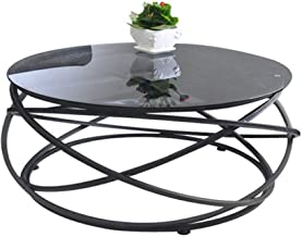 Living Room Furniture Metal Round Black Tempered Glass Coffee Table Side Table | Creative Wrought Iron Personality Living ...