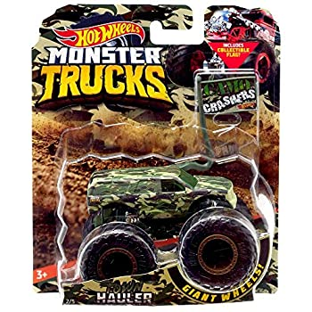 Hot Wheels Monster Trucks Town Hauler Camo Crashers 5/5 with Collectible Flag