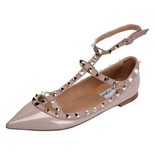 d24d61ba44c432 CAMSSOO Women s Metal Studs Strappy Buckle Pointy Toe Flats Comfortable Dress  Pumps Shoes