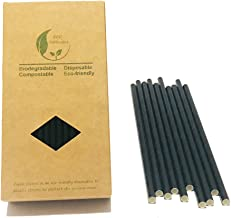Black Drinking Straws Non Plastic, Drinking Straws Plain Black Renewables Paper Straws Solid Color,20cm / 7.87 inches long,