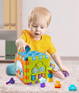 HANMUN Kids Activity Cube 6 in 1 Multipurpose Play Center Activity Square Play Cube for Infants & Toddlers Busy Learner Cube with Shapes Maze Music Gears Clock Educational