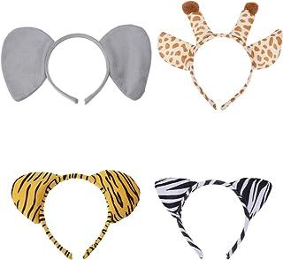 FRCOLOR 4 Pcs Tiaras de Orelha de Animal Cosplay Aro de Cabelo Elefante Girafa Tigre Zebra Tiara Adereços de Fotografia pa...