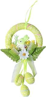 Amosfun Couronne de Pâques décorative pour porte - Œufs de Pâques - Lapin - Décoration murale - Décoration de maison (vert)