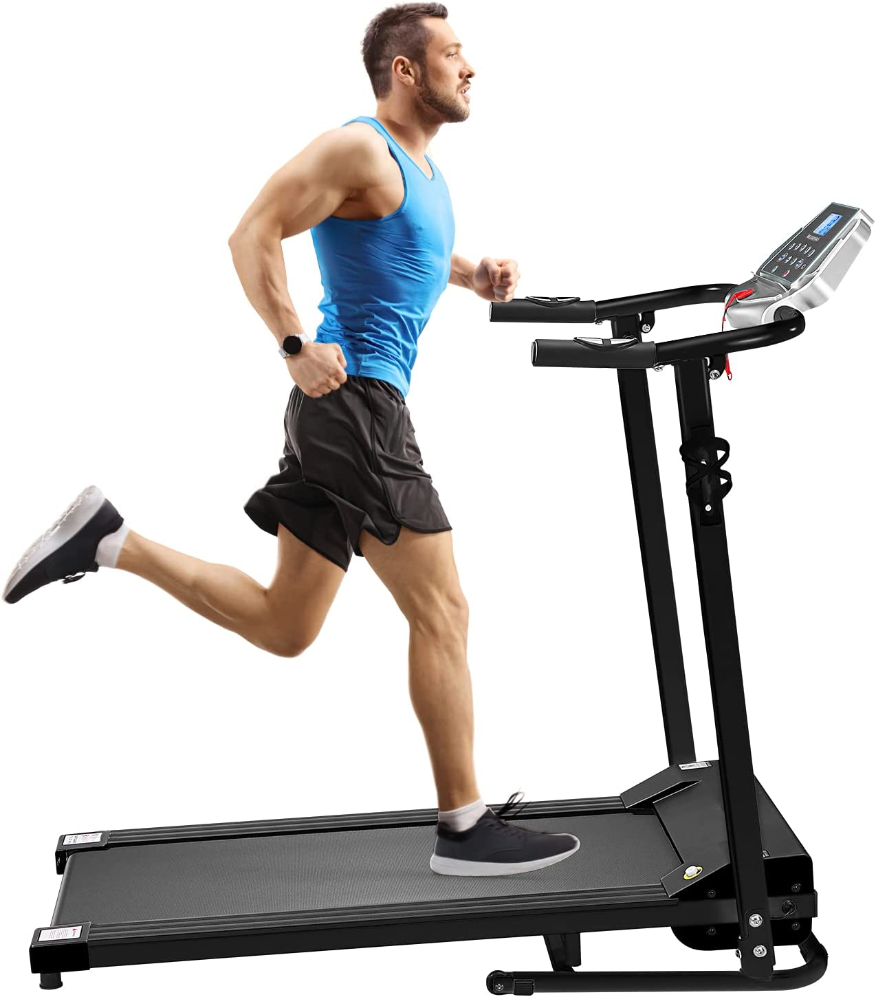 Foldable Treadmill Electric Running Machine: Folding Walking Pad 12 Program Portable Compact Quiet Jogging Run Treadmills for Home Apartment Commercial Small Spaces Adult Seniors Obese People Exercise