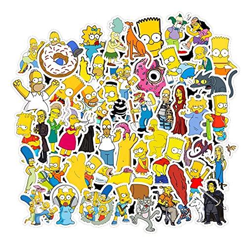 Divertido anime dibujos animados Simpsons graffiti pegatinas para coche moto y maleta Cool Laptop pegatinas niños etiqueta engomada 50 unids