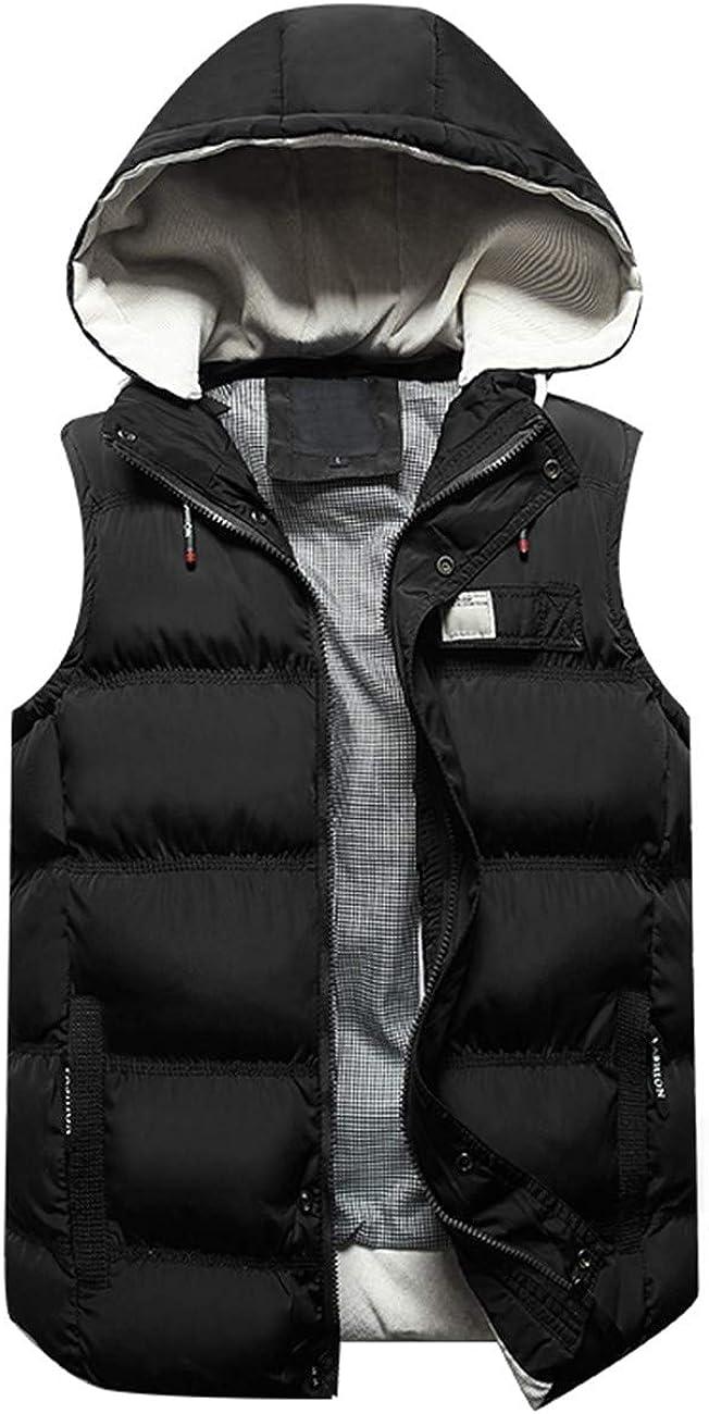 Legogo Men's Outdoor Vest Slim Fit Hooded Stand-up Collar Modern Quilted Vest