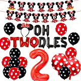 2nd Birthday Decoration Set Themed of Minnie Mouse Red and Black, Oh Twodles Happy Birthday Banner Ear Headband Second Birthday Party for Girl