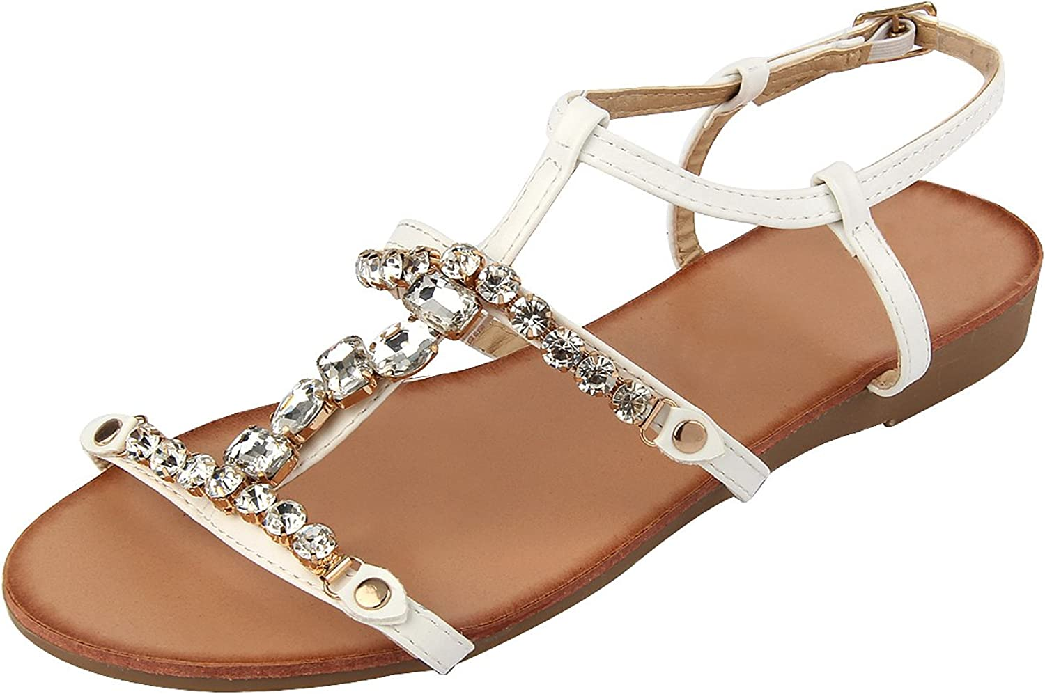 MUDAN Women's Rhinestone Braided Open Toe Flat Sandals by 11 B (M), White.