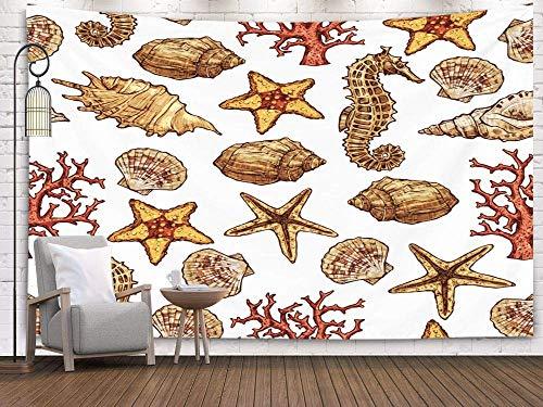 N\A Art Tapestries, Tapiz de Pared Colgante para D & Eacute; Cor Sala de Estar Dormitorio Dibujado a Mano Patrón de mar con Conchas Caballo Estrella de mar y corales Fondo de Verano