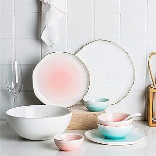 Ensemble de vaisselle, ensembles de vaisselle 8 pièces, ensemble de vaisselle en porcelaine irrégulière avec assiettes et ...