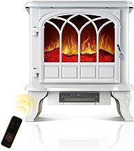 GLJY Estufa Chimenea Independiente Calefacción de la Estufa Calentador Interior, Chimenea eléctrica portátil de la Zona de Ocio, con Quemador de leña 2000W (Blanco)