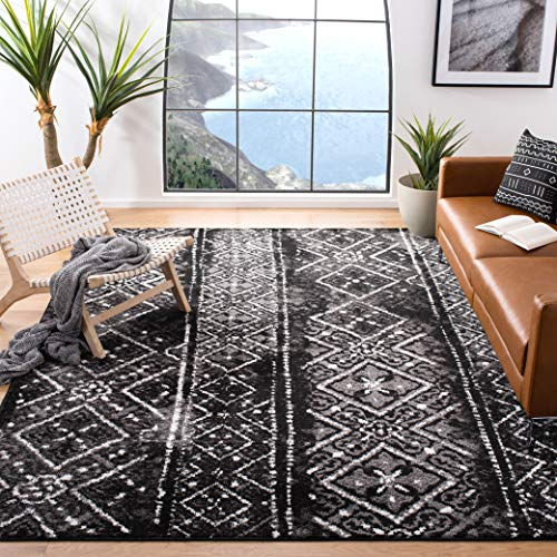 Safavieh Adirondack Collection ADR111C Black and Silver Contemporary Bohemian Distressed Area Rug...