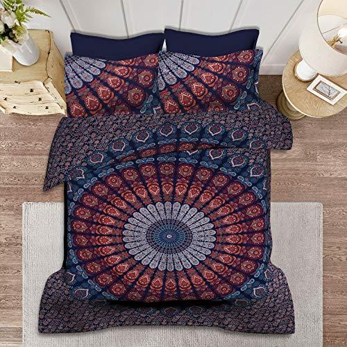 Maviss Homes - Juego de funda de edredón y 2 fundas de almohada de algodón para cama de matrimonio, diseño indio, multicolor