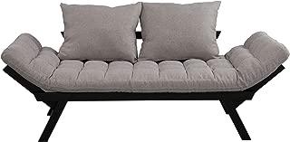 HOMCOM Click Clack Couch, Convertible Futon Sleeper Sofa Bed, Modern, Linen Fabric, 61