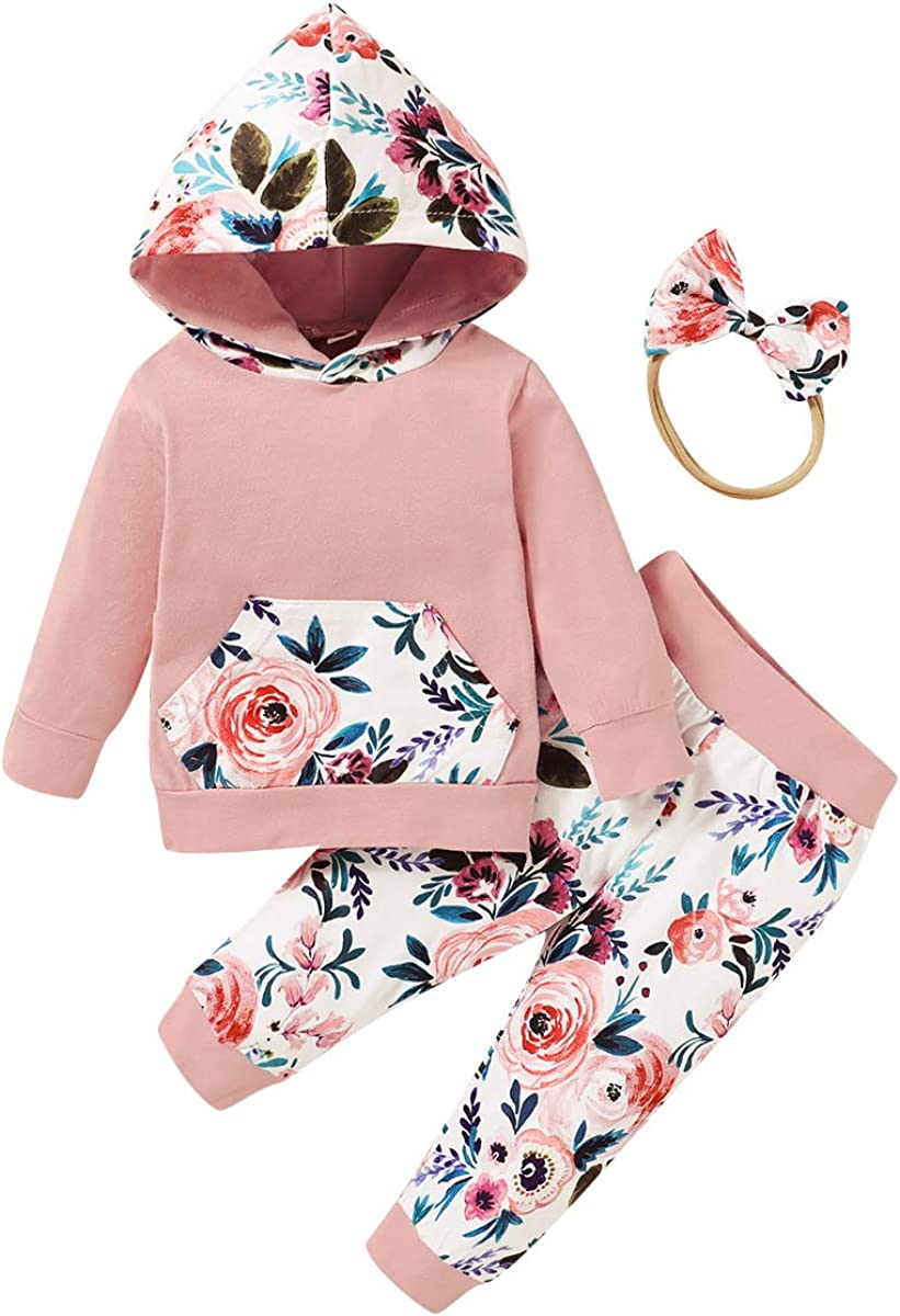 Baby Girls Clothes Hoodie Sweatsuit Floral Pants with Headband Winter Outfits Set