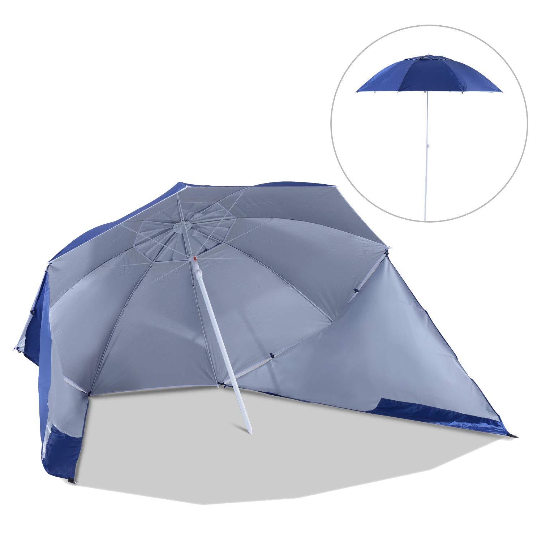 Outsunny Sombrilla de Playa con Paneles Laterales Tipo Tienda Parasol para Protección de Rayos UV Φ210x222cm Azul: Amazon.es: Jardín