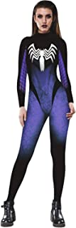 ZHONGJI Halloween Scary Spider Logo Bodysuit 3D Print Funny Skinny Stretch Costume Overall Jumpsuit