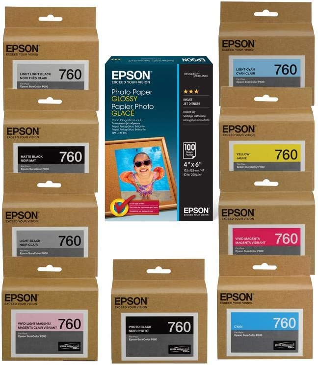 "Epson T760 Ultrachrome HD Ink Cartridge Complete Set SureColor P600 Inkjet Printer, 25.9ml Capacity, INKS Consists of HD Photo Black, HD Cyan, HD Vivid Magenta, HD Yellow , HD Light Cyan, HD Vivid Light Magenta, HD Lighy Black, HD Matte Black, Light-Light Black, Epson Glossy Paper, 4x6"", Micro Perforated"