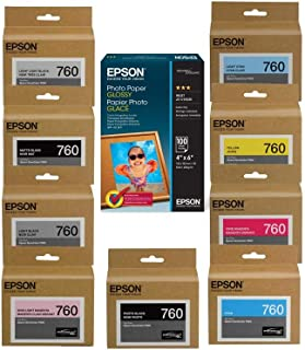 Epson T760 Ultrachrome HD Ink Cartridge Complete Set SureColor P600 Inkjet Printer, 25.9ml Capacity, INKS Consists of HD P...