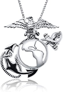 Sterling Silver Marine Corps Badge Cage Pendants for Fashion Jewelry, Medal Pendants for Jewelry Making