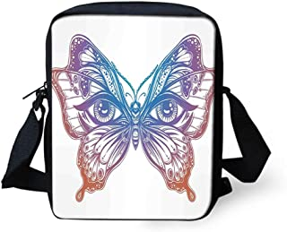 Messenger Bag,Unisex,Spiritual Madam Butterfly Wings with Human Eyes Retro Tattoo Freedom Theme Nature.9x8x2inches