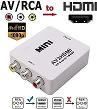VGA to HDMI, 1080P VGA and Audio to Video Converter Box Adapter for HDTVs, Monitors/Displays, Laptop Desktop Computer (white1) (AV to HDMI)